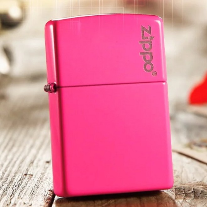 Pink Neon 28886zl with Logo Zippo Lighter