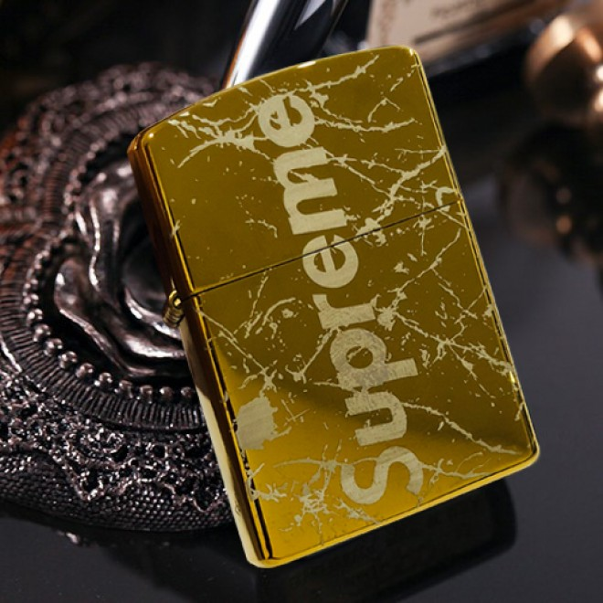Gold Ice Crackling Supreme Zippo Lighter