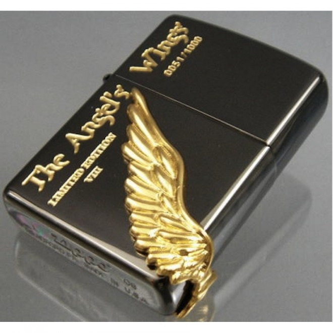 Black Ice Gold Angel Wing Limited Edition Zippo Lighter
