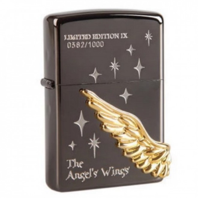 Black Ice Gold Angel Wing Dashing Star Limited Edition Zippo Lighter