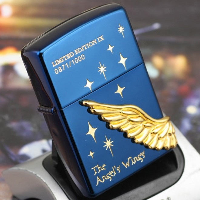 Blue Ice Gold Angel Wing Dashing Star Limited Edition Zippo Lighter