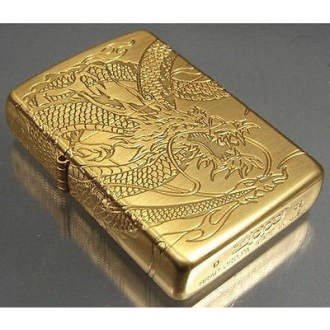 Japan Gold 4 Face Sided Engrave Dragon Zippo Lighter