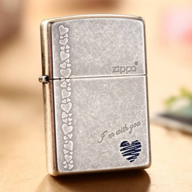 "Silver Antique ""I'm with you"" Zippo Lighter"