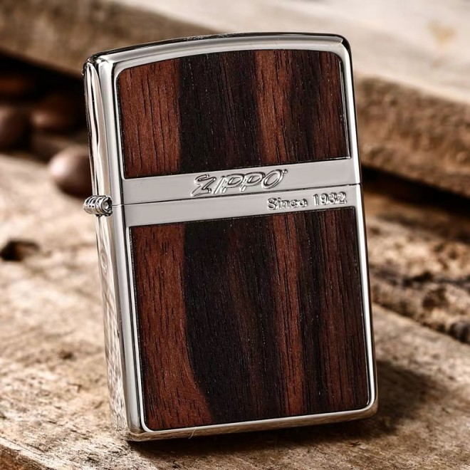 Woody Classic With Neon Black Zippo Lighter