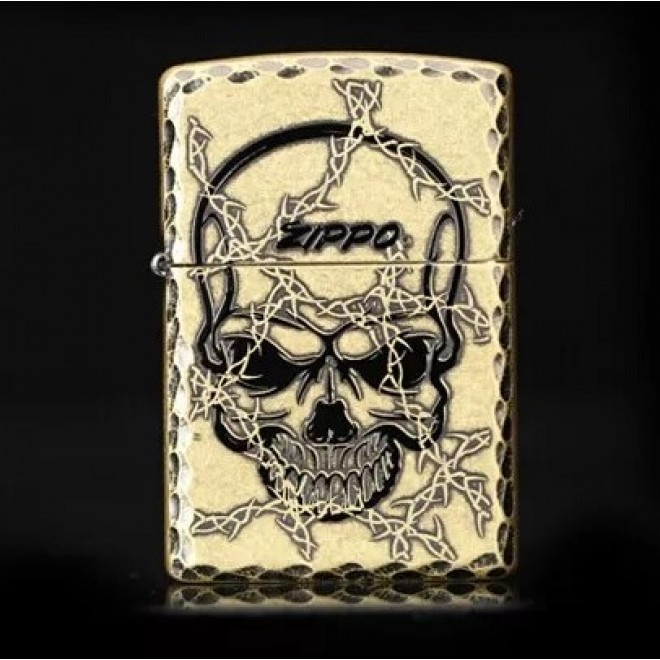 Brass Taro Devil's Door Counter Skeleton Zippo Lighter