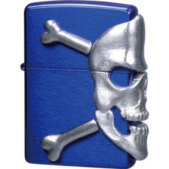 Blue Big Skull Metal Zippo Lighter