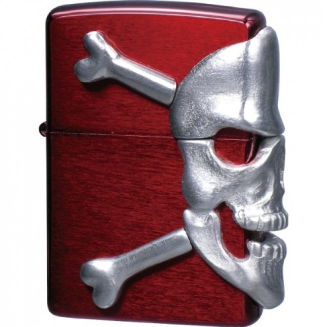 Red Big Skull Metal Zippo Lighter