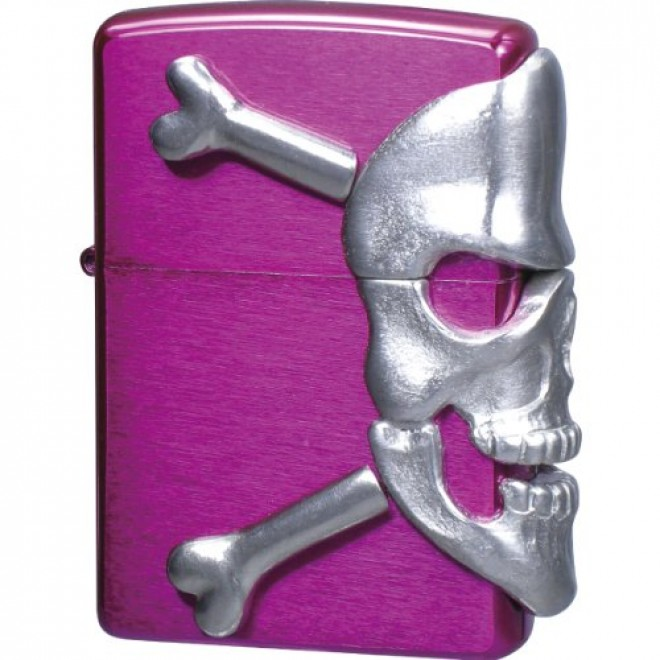 Pink Big Skull Metal Zippo Lighter