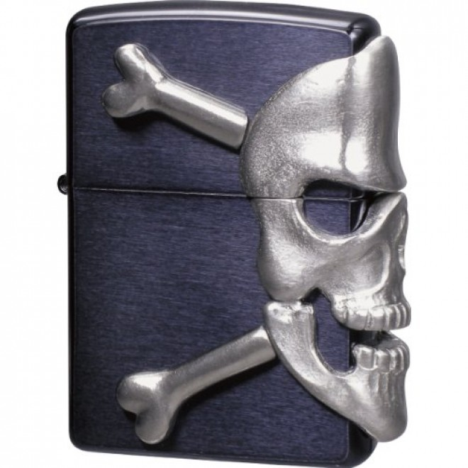 Black Big Skull Metal Zippo Lighter