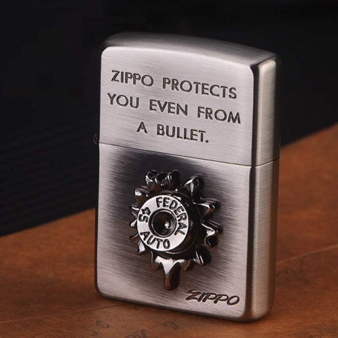 "Antique Silver 3D Bullet ""Zippo Protects You Even From A Bullet"" Zippo Lighter"