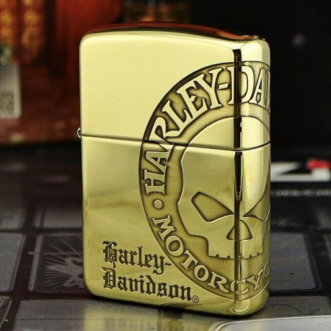 High Polished Gold Harley Davidson Skeleton Head Zippo Lighter