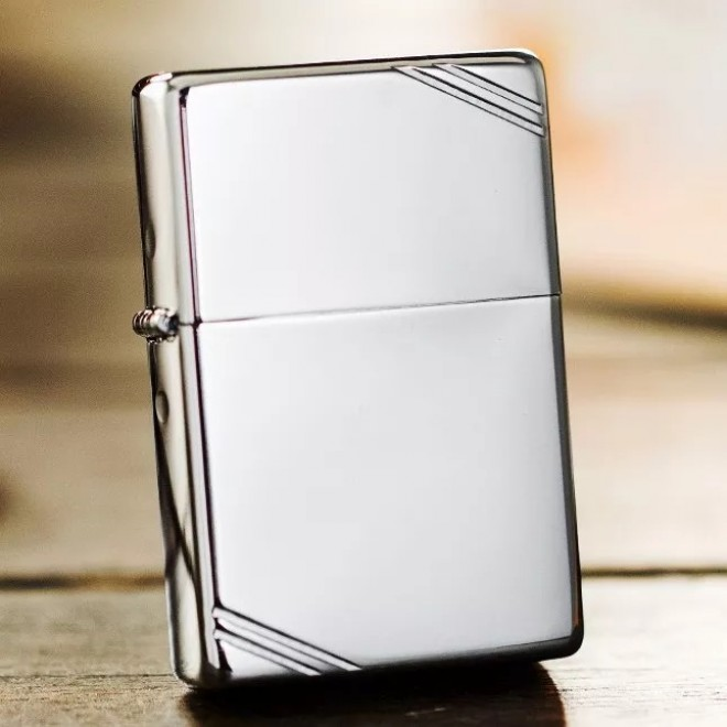 Silver Vintage Look 1937 260 with Slashes Zippo Lighter