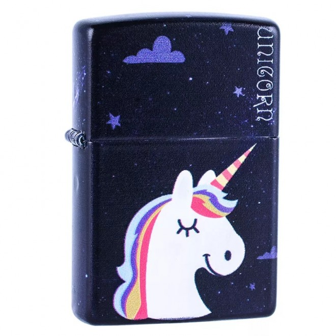 5 Sided Graffiti Flying Unicorn Zippo Lighter