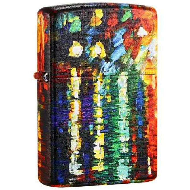 5 Sided Graffiti Oil Painting With Raining Girl Zippo Lighter