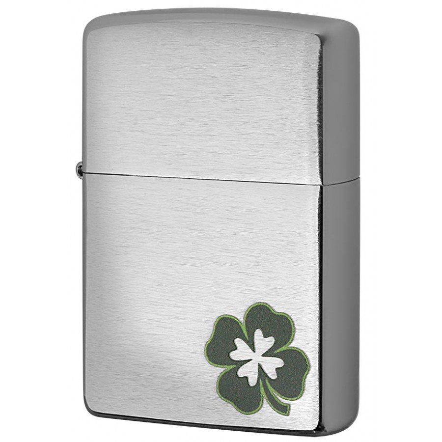 Brush Chrome Clover 29915 Zippo Lighter
