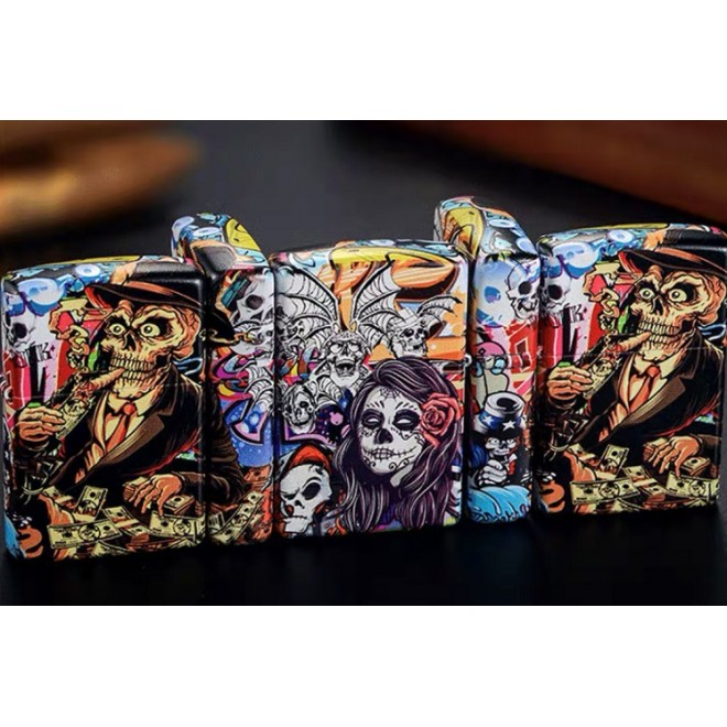 5 Sided Graphitti Retro Richer Gentlement's Of The Day Zombie Zippo Lighter
