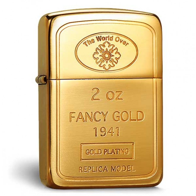 The World Over 2 OZ Fancy Gold 1941 Replica Model Gold Plating Zippo Lighter