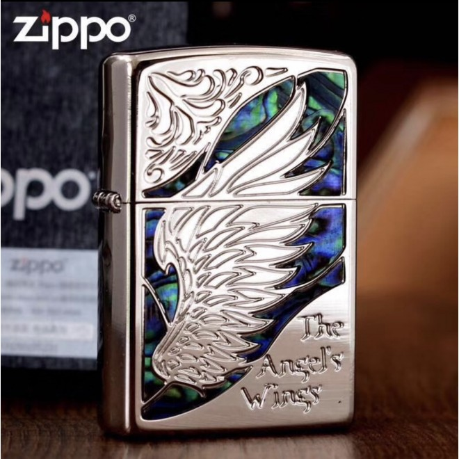 Silver Inlay Shell The Angel's Wing Zippo Lighter