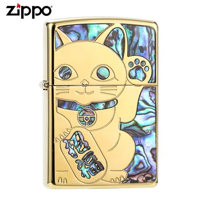 Gold Inlay Shell Cat Maneki‑Neko Zippo Lighter