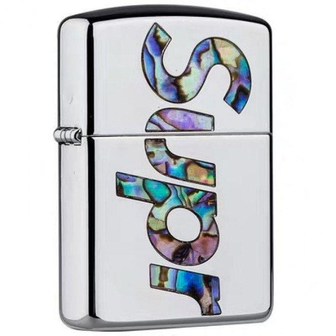 Silver Green Inlay Shell Supreme Zippo Lighter