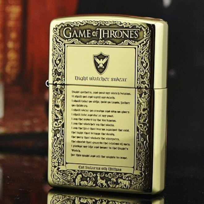 Etching Brass Armor Game of Thrones Zippo Lighter