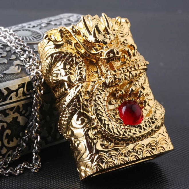 Japanese Handcraft Master Golden Red Ruby Dragon Jacket Zippo Lighter