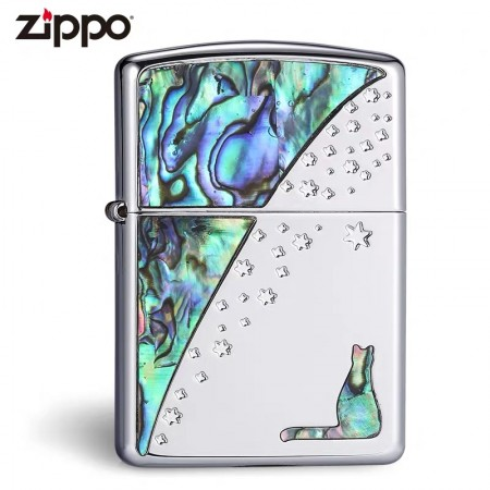 Starry Cat Inlay Shell Limited Edition Zippo Lighter