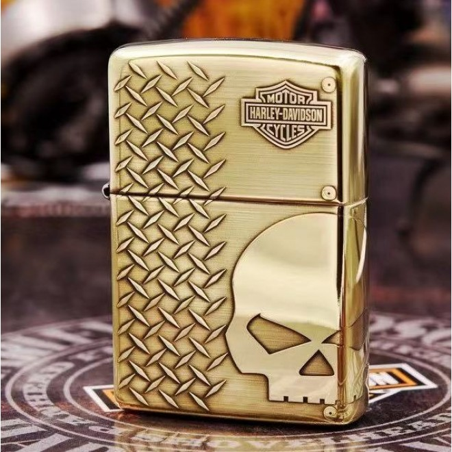 High Polished Gold Harley Davidson Cycle Skeleton Head Zippo Lighter