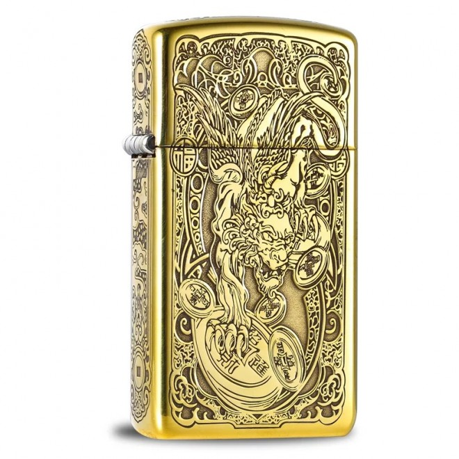 5 Sided Etching Ancient Japanese Dragon Slim Zippo Lighter