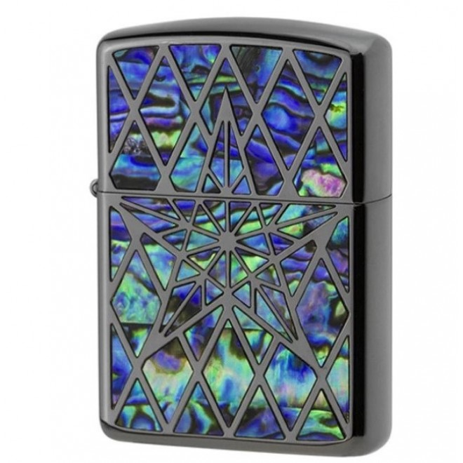 Armor Natural Black Shell Inlay Star Both Sides Design BK Zippo Lighter