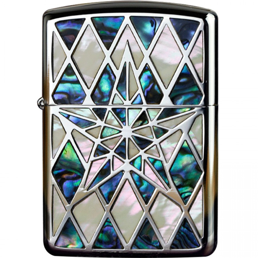 Armor Natural Silver Shell Inlay Star Both Sides Design BK Zippo Lighter