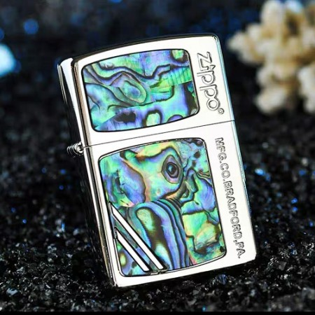 Classic Green Inlay Shell Zippo Lighter