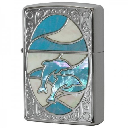Natural Shell Inlay Dolphin WH BL Zippo Lighter